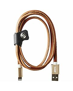 Holdit Usb cable, selected lightning, 1m, brown/gold